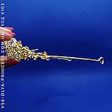 Диадема золотистая с камнями под цирконий, высота 3,5 см., фото 2
