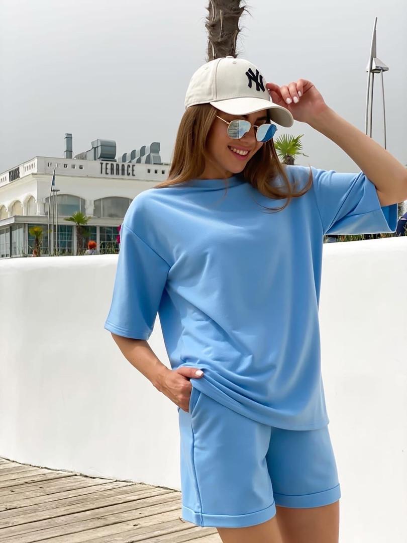 Женский модный прогулочный костюм с шортами и футболкой (Норма)