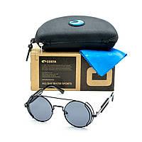 Солнцезащитные очки в стиле стимпанк круглые черные