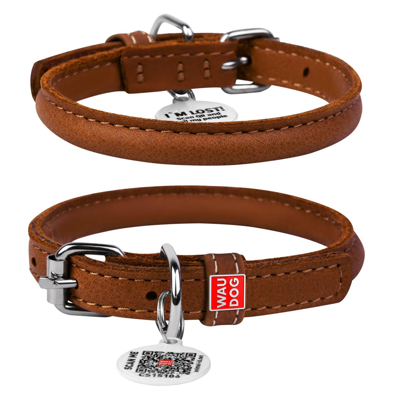 Ошейник для собак кожаный WAUDOG Soft с QR паспортом, круглый, XS, Д 8 мм, Дл 25-33 см