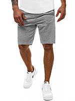 Чоловічі спортивні шорти літні бавовняні (коттон), трикотажні стильні чоловічі шорти на літо сірі