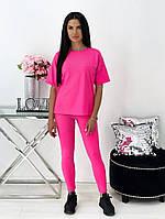Женский летний спортивный костюм с лосинами и футболкой (Норма), фото 2