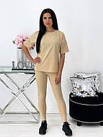 Женский летний спортивный костюм с лосинами и футболкой (Норма), фото 4