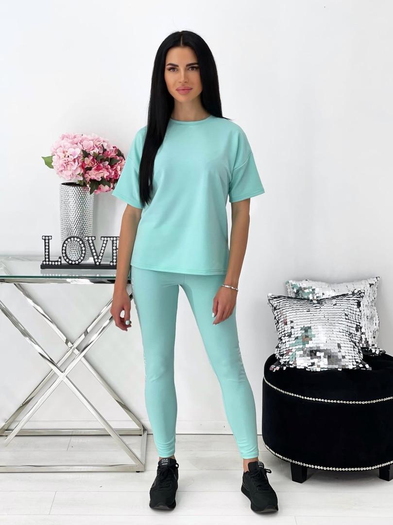 Женский летний спортивный костюм с лосинами и футболкой (Норма)