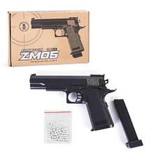 Металлический пистолет на пульках для детей, ZM05, Airsoft gun, CYMA