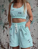 Жіночий літній спортивний костюм з написом Angel (Норма), фото 5