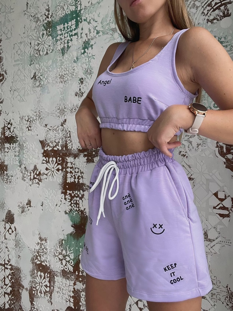 Жіночий літній спортивний костюм з написом Angel (Норма)