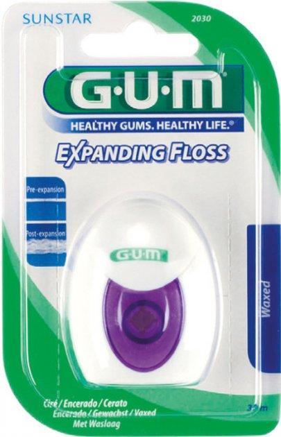 Зубна нитка Гам з ефектом розширення, глибоке очищення GUM Expanding Floss 30 м