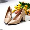Модельні бежеві жіночі туфлі човники на фігурному підборі в асортименті, фото 7