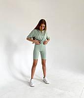 Спортивный женский костюм с велосипедками и футболкой (Норма), фото 2