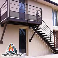 Прямі сходи з металу на одному косоурі на другий поверх, терасу і балкон, фото 1