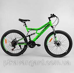Велосипед спортивный 26 дюймов Зеленый 21 скорость Corso Rock-Pro рама металлическая, собран на 75%