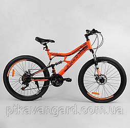 Велосипед спортивный 26 дюймов Оранжевый 21 скорость Corso Rock-Pro рама металлическая, собран на 75%