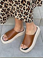 Шлепанцы женские кожаные коричневые на бежевой подошве, фото 1