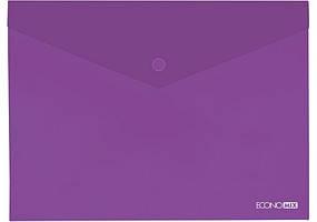 Папка-конверт В5 на кнопці, 180 мкм, фактура Глянець, Economix мікс кольорів