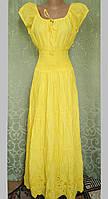 Платье  летнее, женское макси. Хлопок прошва. Индия. Желтый (44-48) М р.
