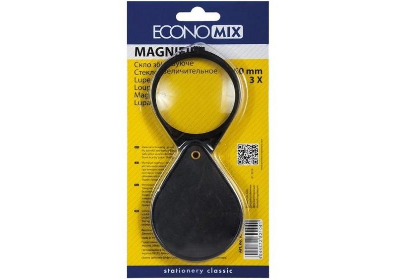 Скло збільшувальне d 60 мм, 3-кратне з пластиковим тримачем Economix
