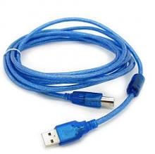 Кабель USB 2.0 RITAR AM / BM, 10m, 1 ферит, прозорий синій