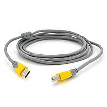 Кабель USB 2.0 V-Link AM / BM, 3.0 m, 1 ферит, Grey / Yellow
