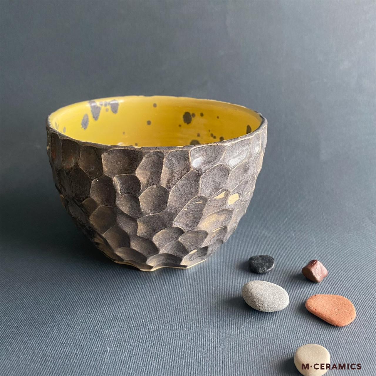 Пиала керамическая серая с желтым