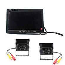 7-дюймовий HD автомобільний РК-дисплей на дві камери, 24V, розширення 420TVL, кут лінзи 120 °