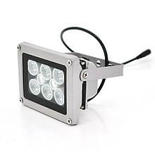 ІЧ прожектор YOSO 12V 16W, 6 + 2LED, IP66, 850нм, кут огляду 60 °, дальність до 30м, 110 * 86 * 63мм, BOX