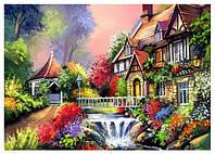 "Схема вышивки бисером ""Дом у реки"", пейзаж"