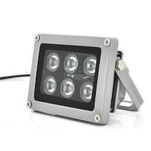 ІЧ прожектор YOSO 12V 12W, 6LED, IP66, 850нм, кут огляду 60 °, лінза 6мм, робоча відстань до 30м, 114*86*86мм,