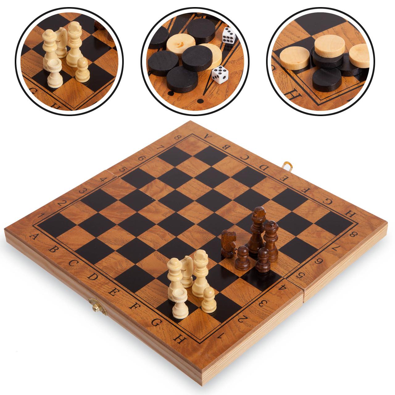 Набір настільних ігор 3 в 1 S4034 - шахи, шашки, нарди дерев'яні