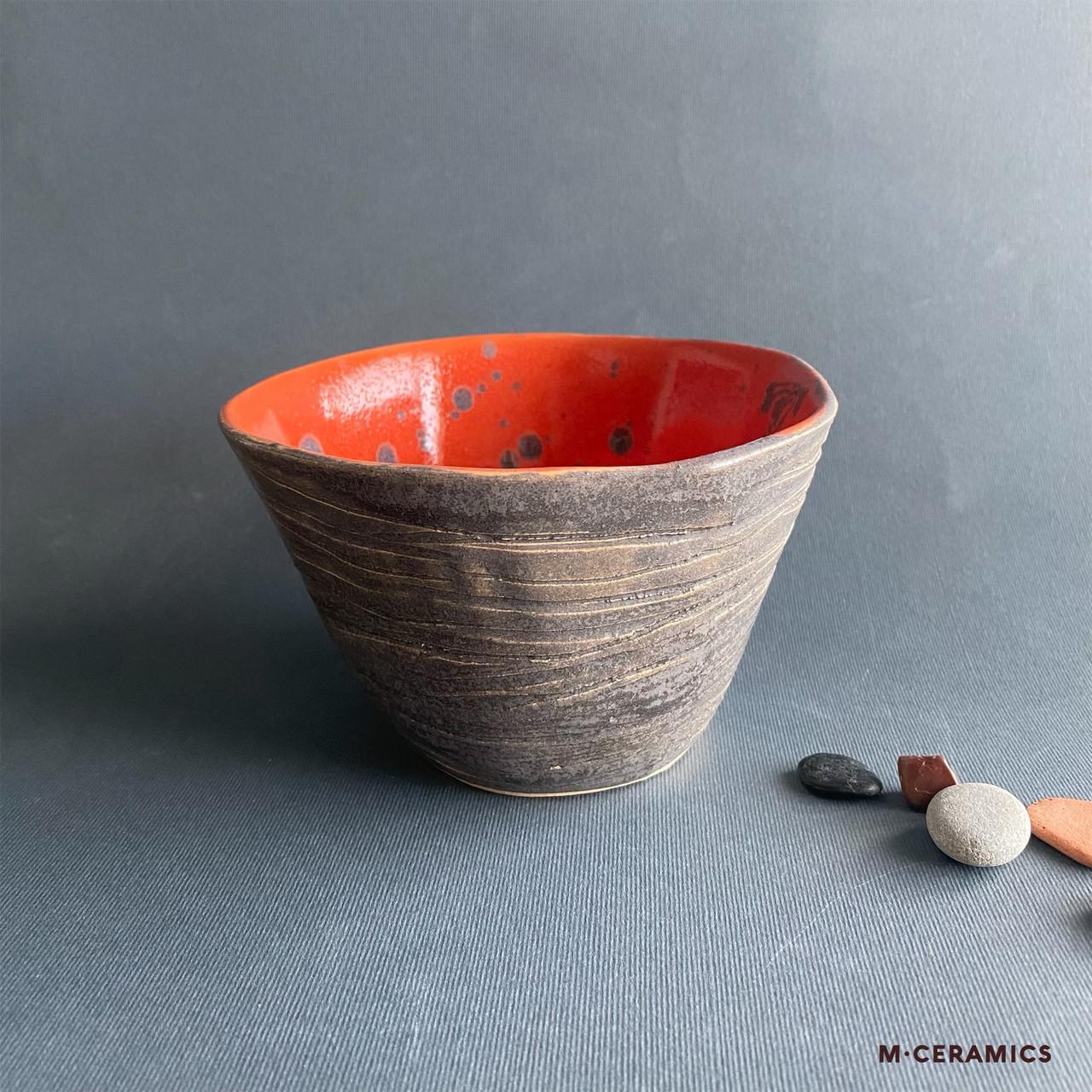 Пиала керамическая серая с оранжевым