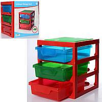 Конструктор 1006 столик, ящики для деталей 3 шт., карт.оберт., 34-37,5-32см.