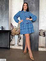 Молодіжне коротке плаття жіноче з спідницею кльош з воланами великі розміри р-ри 50-56 арт. р41539/1