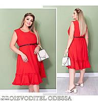 Легкое платье женское летнее по колено свободного кроя  с рюшиками большие размеры 48-58 арт. 012