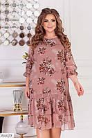 Красивое шифоновое платье женское по колено свободного кроя большие размеры батал 50-60 арт.679