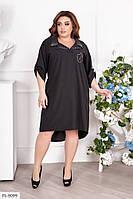 Прямое летнее платье-рубашка по колено свободное удлиненное сзади больших размеров 52-58 арт.  3072