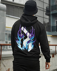 Худі оверсайз Гармата Вогонь Flame 3.0 чорне