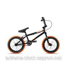 Велосипед 14 Stolen AGENT 14.60 2021 BLACK W/ DARK NEON ORANGE TIRES