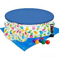 Детский надувной бассейн Intex 59469-3 «Ананас», 132 х 28 см, с мячом и кругом, с шариками 10 шт, тентом,