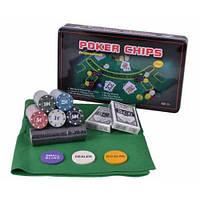 Покерний набір 300 фішок з номіналом в металевій коробці 300T