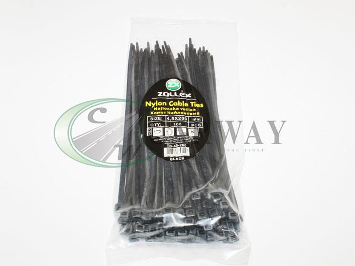 Хомут пластиковий 4,5*200 (чорний) 100шт.