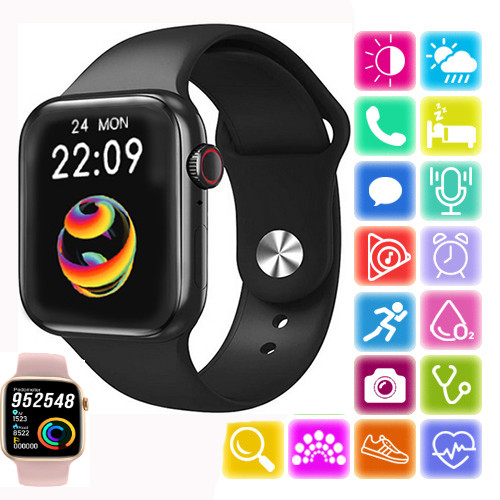 Розумні Smart Watch смарт фітнес браслет годинник трекер на РУССОКОМ в стилі Apple Watch Series 6 (HX68)