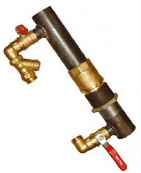 Байпас сталевий для опалення короткий з латунним клапаном 40