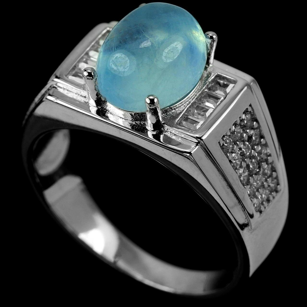 Серебряное кольцо с Аквамарином, 1773КА