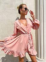 Лёгкое короткое платье на запах с рукавом на манжете, фото 1