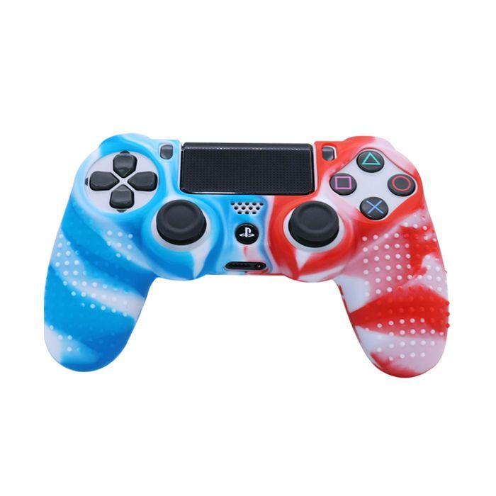 Силиконовый чехол для джойстика Sony PlayStation PS4 Type 3 Blue Camo/Red Camo тех.пак