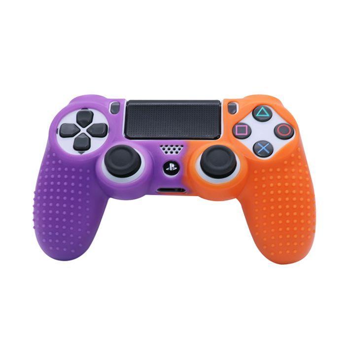Силиконовый чехол для джойстика Sony PlayStation PS4 Type 3 Violet/Orange тех.пак