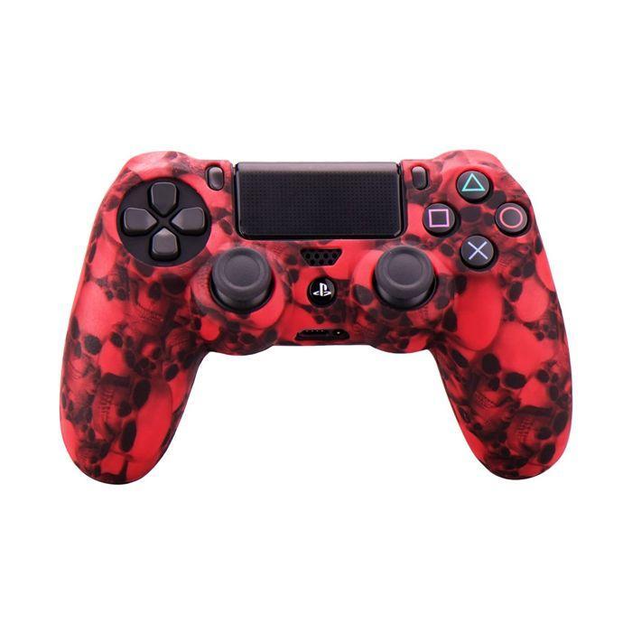 Силиконовый чехол для джойстика Sony PlayStation PS4 Type 8 Red Skulls тех.пак