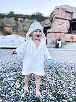 Детская муслиновая туника, пляжная, белая, размер 74 (есть размеры)