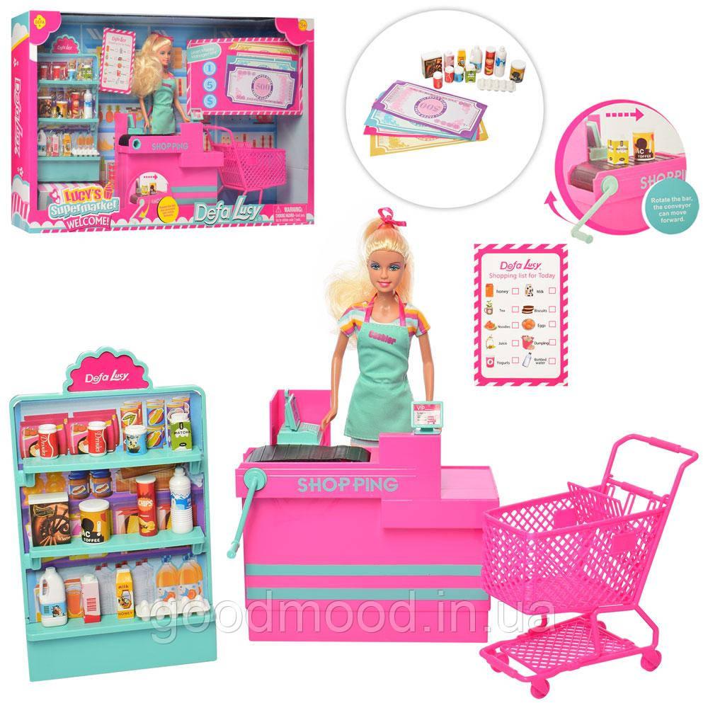 Лялька DEFA 8430-BF магазин, прилавок, продукти, візок, кор., 56-33-10 см.