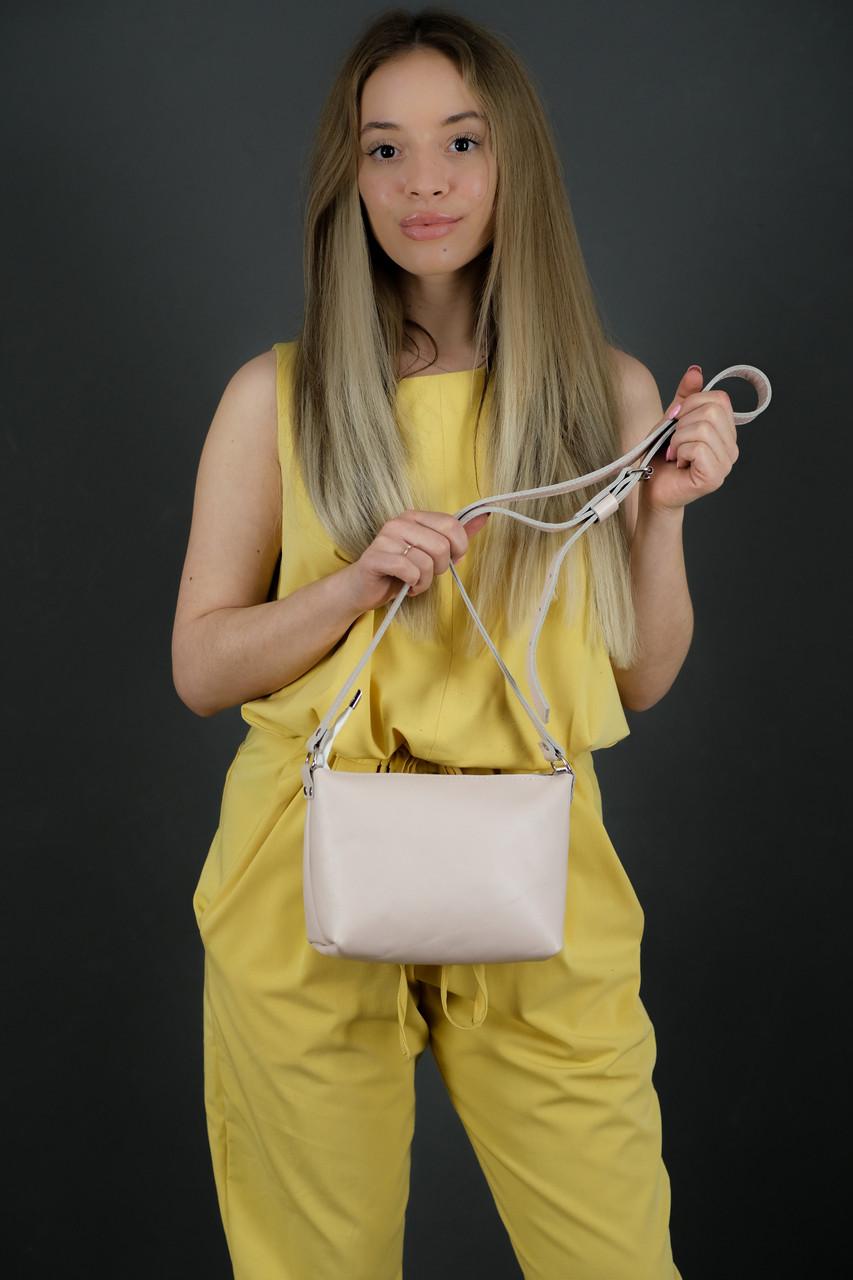 Женская кожаная сумка Лето, натуральная Гладкая кожа, цвет Пудра